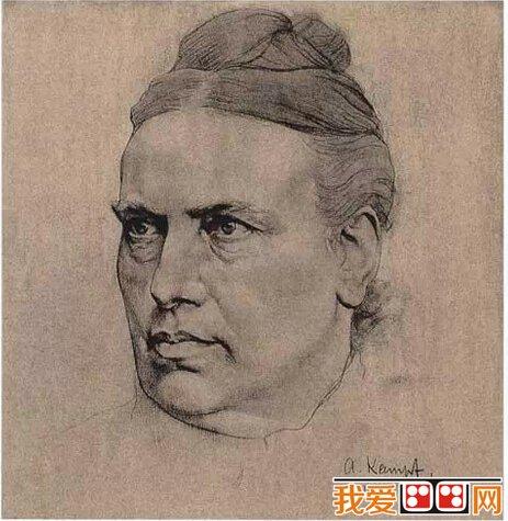 大师康勃夫人物肖像之头像素描