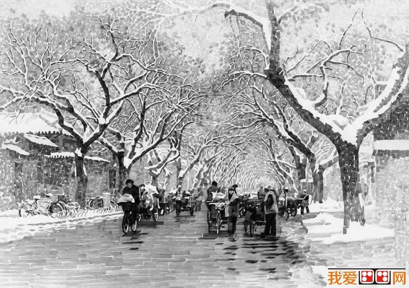 老北京胡同素描风景画作品欣赏