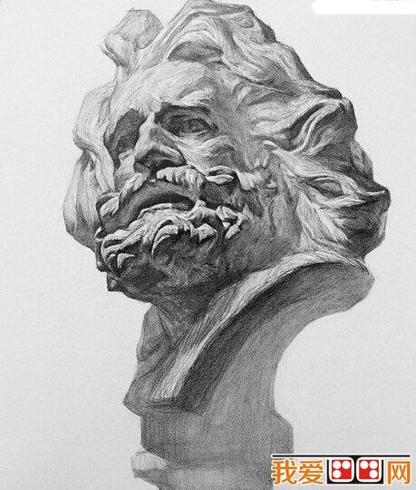 素描马赛石膏像步骤教程(3)
