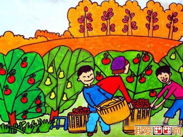 丰收的秋天儿童画作品欣赏 2
