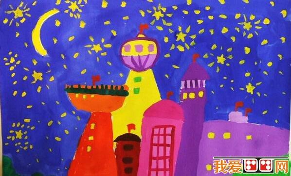 儿童水彩画烟花作品欣赏 3