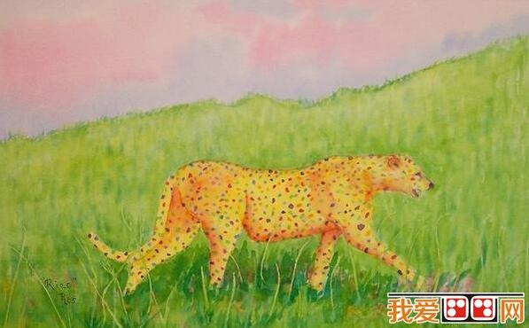 儿童水粉画猎豹图片