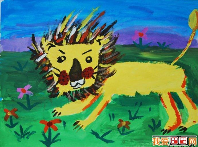 草原上的儿童动物水粉画作品欣赏(2)