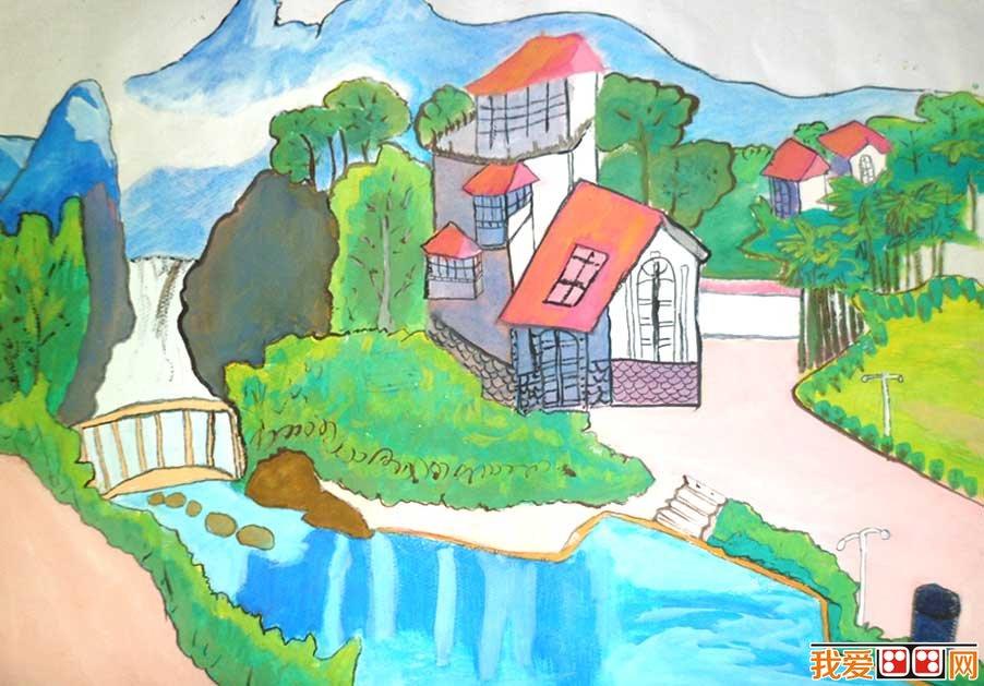 美丽的家乡儿童水粉画作品欣赏