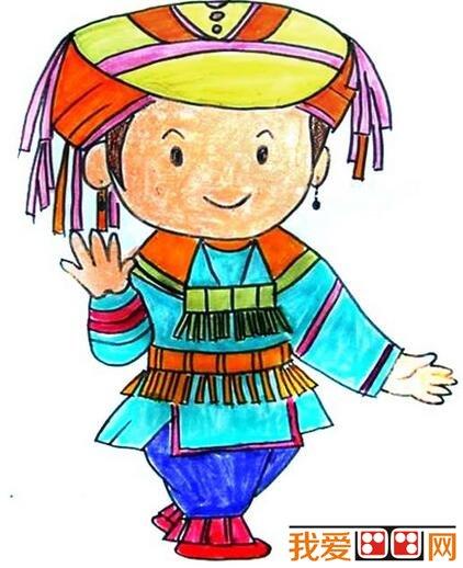 少数民族儿童肖像蜡笔画作品欣赏(3)