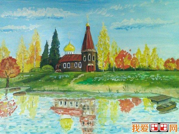 学画画 儿童画教程 儿童画欣赏     秋天在我们的眼睛里都是金黄色的