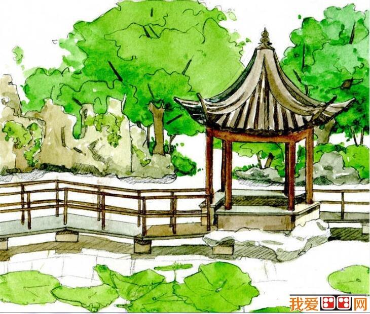 水彩画公园教程步骤详解(5)