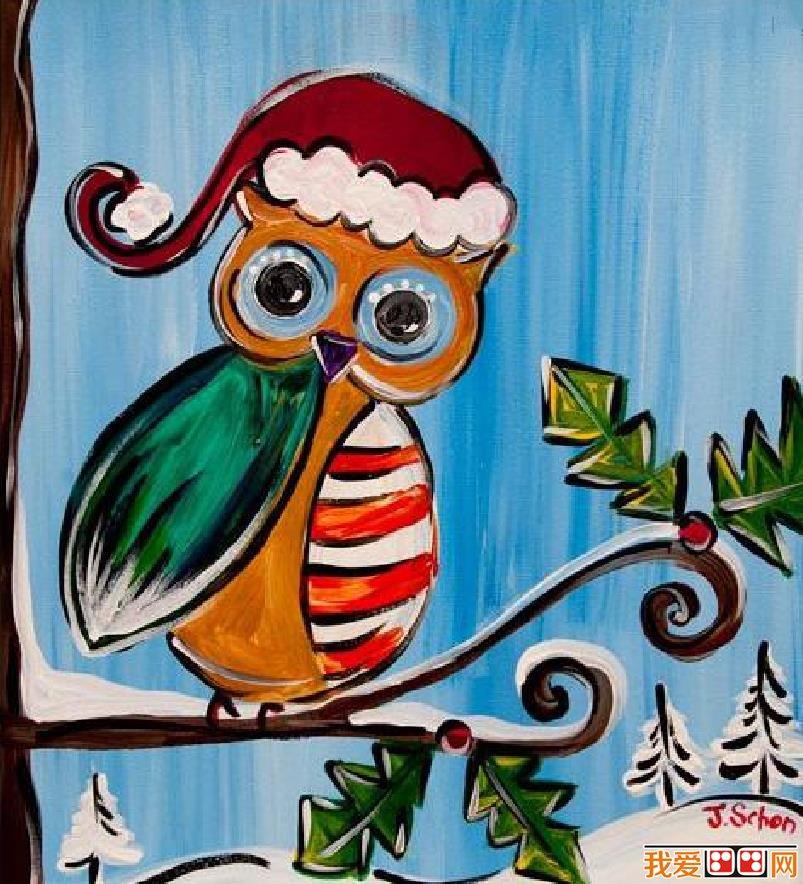 冬天里的小动物儿童画作品欣赏