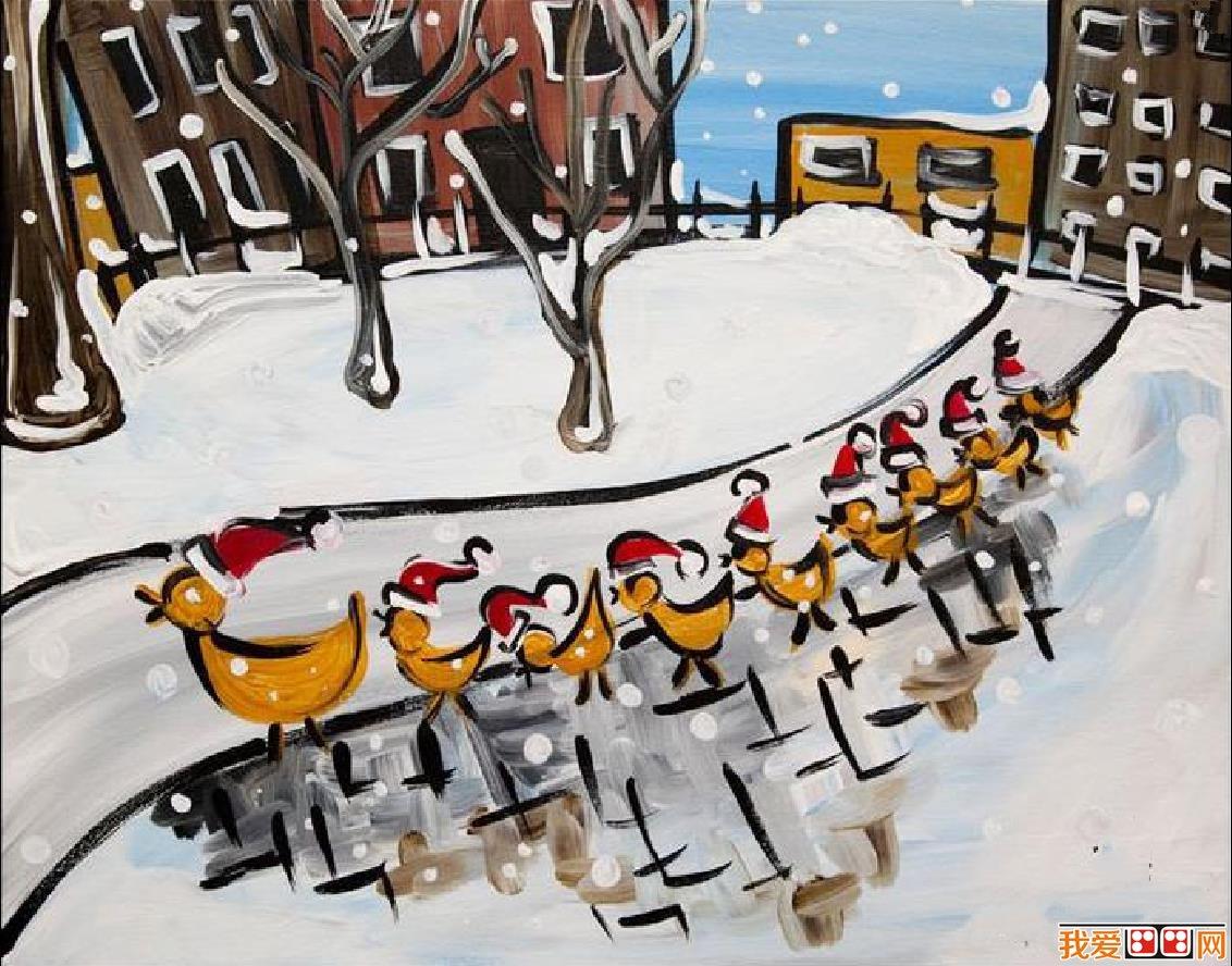 冬天里的小动物儿童画作品欣赏(2)