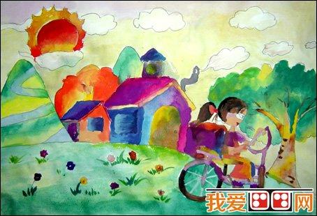 美丽的花园儿童水彩画作品欣赏(3)_儿童画教程_学画画图片