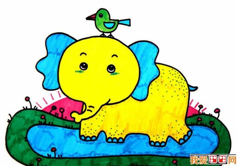 超萌大象儿童水彩画作品欣赏