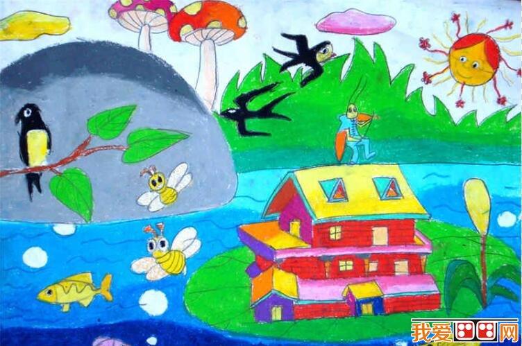 建筑物儿童水彩画作品欣赏图片