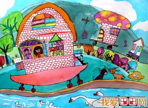 学画画 儿童画教程 儿童水彩画     图中的城堡是由几座建筑物围成的