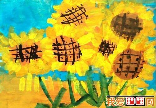 儿童水粉画花朵图片欣赏