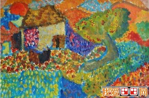 儿童水粉画:乡村风景水粉作品欣赏(2)