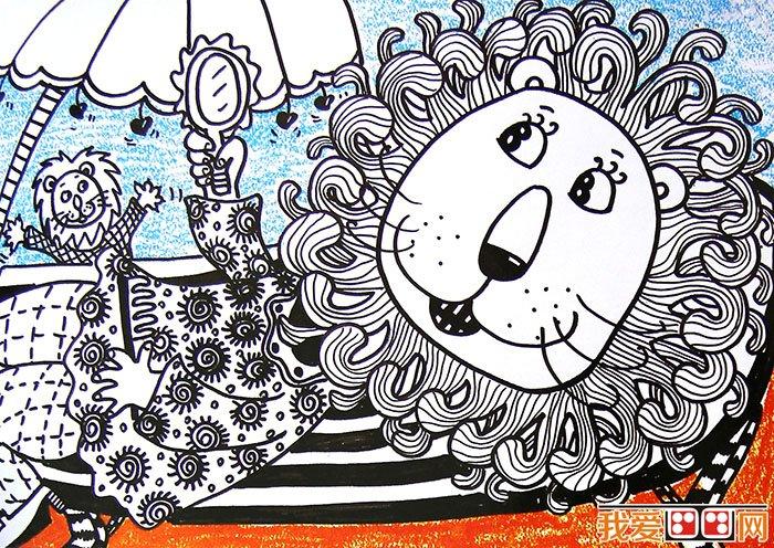 儿童线描画狮子