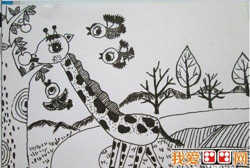 儿童线描画:长颈鹿