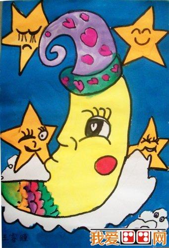 儿童画月亮:月亮卡通画欣赏_儿童画教程_学画画_我爱