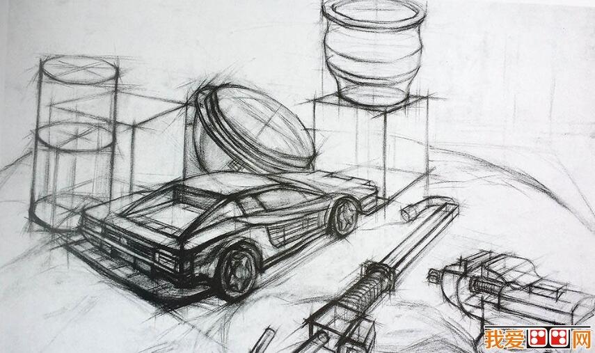 汽车素描作品