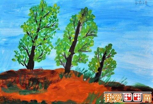 学画画 儿童画教程 儿童水粉画             春天来了,小树发出了新芽