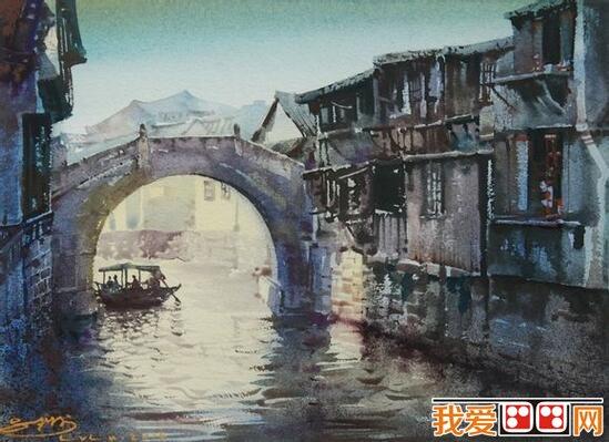 江南拱桥风景水彩画教程详解