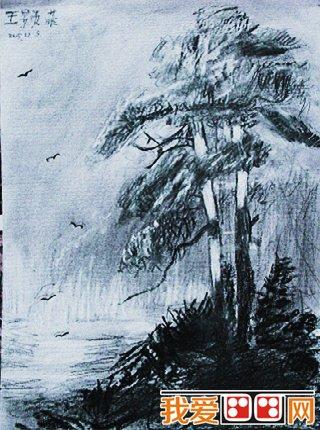 瀑布风景儿童素描图片欣赏