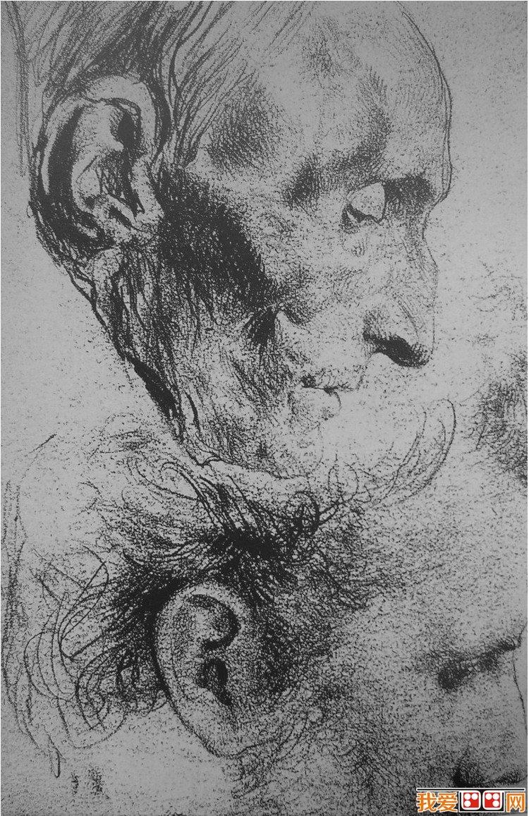 门采尔精湛人物头像素描作品