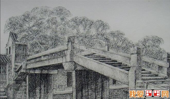 《江南古镇·桥系列》风景素描画欣赏(2)
