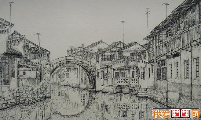《江南古镇·桥系列》风景素描画欣赏(3)