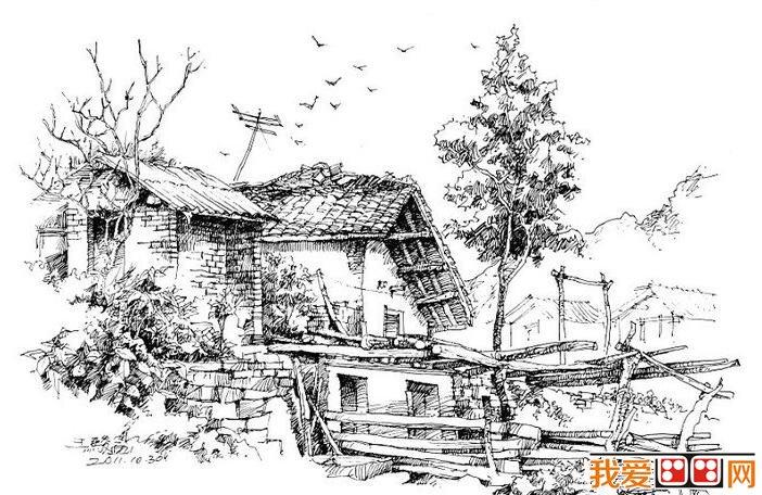 王骏乡村房屋速写风景画欣赏(2)