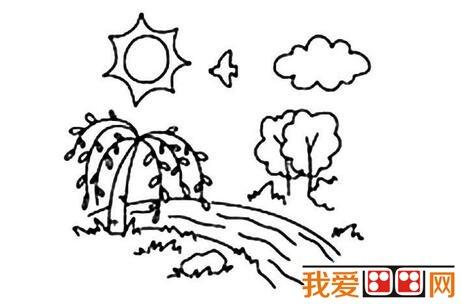 春天的景色儿童简笔画作品欣赏(5)