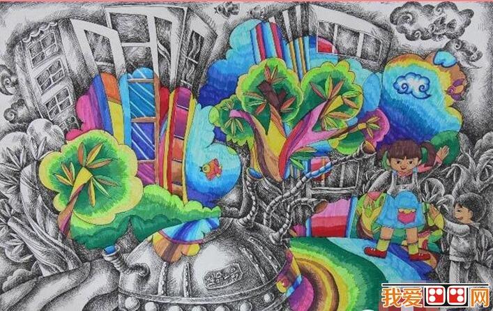 神奇的建筑儿童科幻画作品欣赏(2)_儿童画教程_学画画