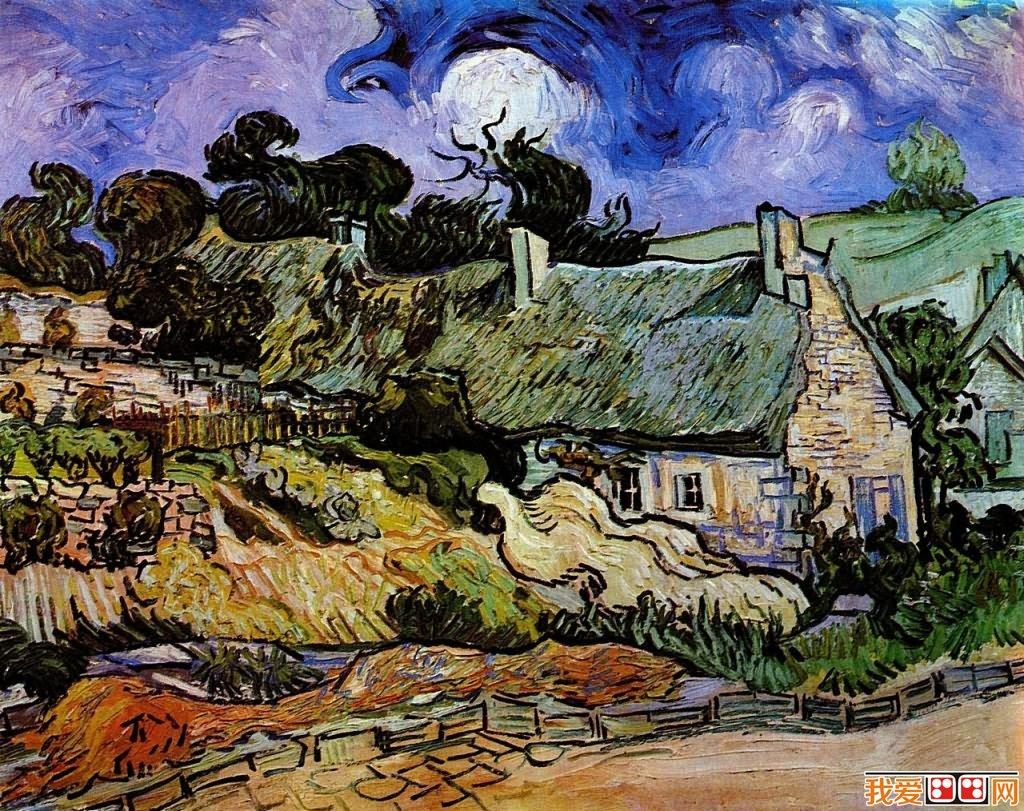 世界著名画家梵高茅草屋系列风景油画作品 6