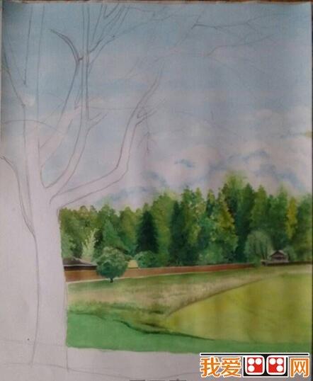 郊外风景水粉画教程详解(2)