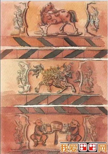 赤砖雕手绘图片