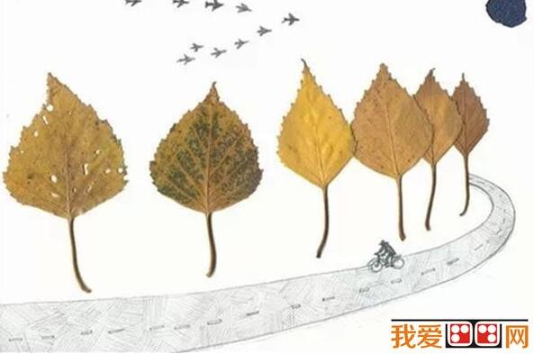精美的树叶装饰画diy制作教程(3)