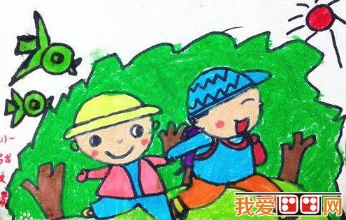 春天游玩兒童畫