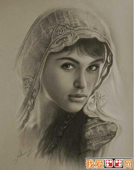 女性人物上半身头像素描作品