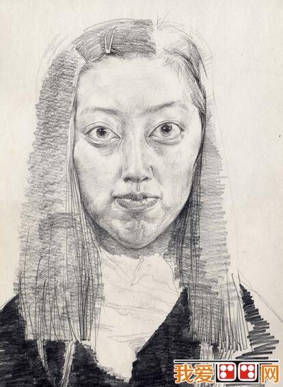 年轻女子人物头像素描
