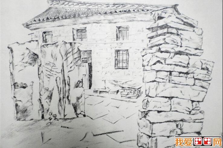 乡村房屋风景速写作品赏析(3)