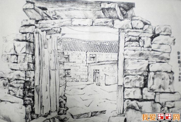 乡村房屋风景速写作品赏析(5)