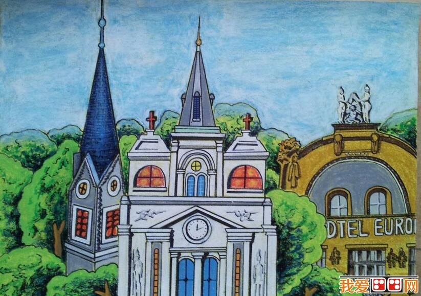 学画画 儿童画教程 儿童画欣赏     千姿百态的高楼大厦雨后春笋般拔
