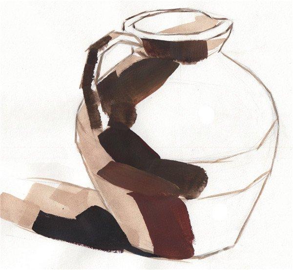 步骤三:调节颜色,用大笔画出陶罐的暗面和阴影的色调。  水粉静物褐色陶罐绘画步骤三 步骤四:继续将陶罐暗面的颜色画完整。  水粉静物褐色陶罐绘画步骤四 步骤五:画出陶罐受光面的颜色和罐口的颜色,将罐体的颜色铺完整。  水粉静物褐色陶罐绘画步骤五