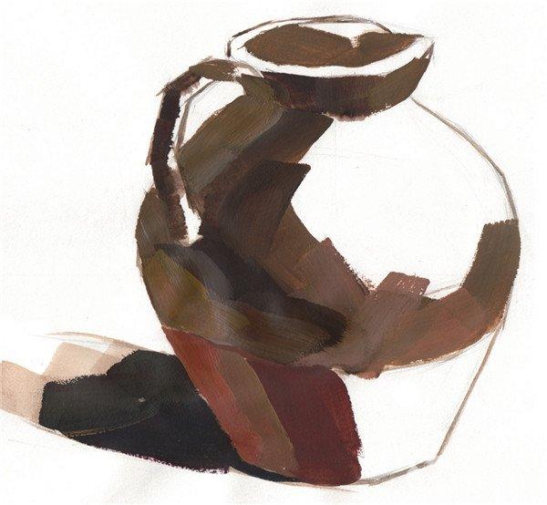 水粉静物褐色陶罐绘画步骤四