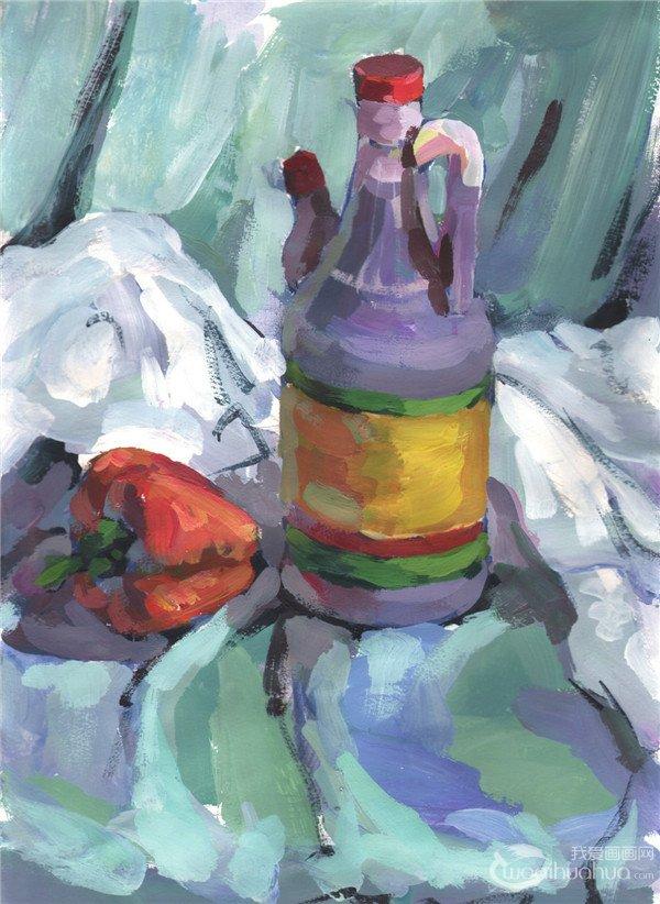 水粉静物组合写生入门 醋壶和青椒的画法