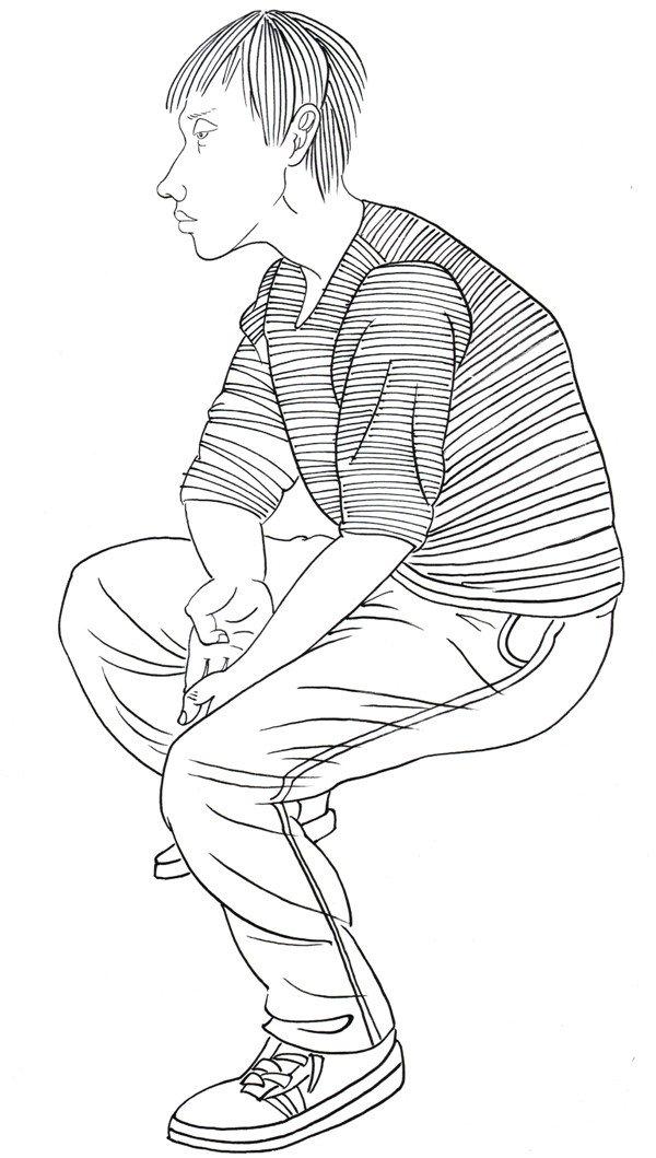 白描人物男孩侧面的画法