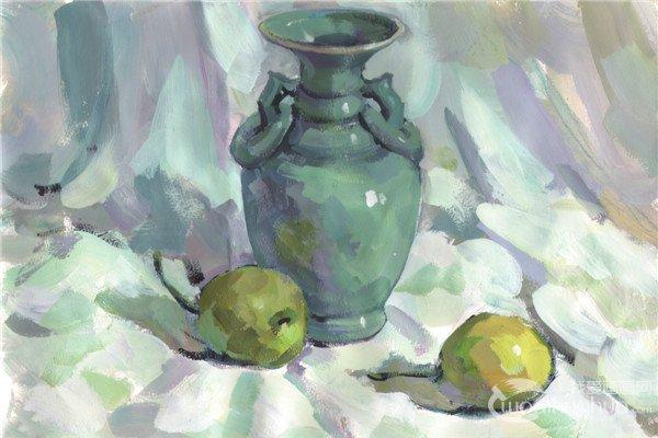 色彩 水粉静物 陶罐和砂锅的画法