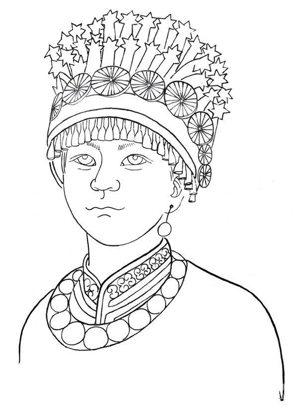 民族头饰设计图手绘