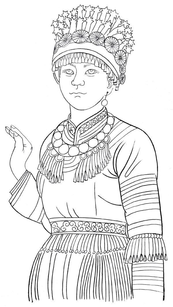苗族服饰手绘设计图