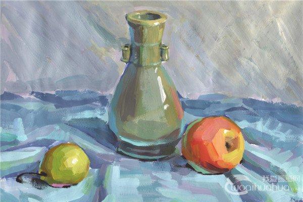 分享水粉静物组合写生入门:瓶子和水果组合的画法.